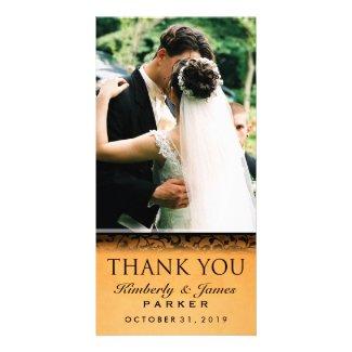 Halloween Orange & Black Wedding Photo Thank You