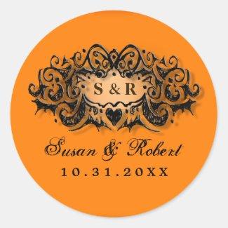 Halloween Orange Black Wedding Round Label Names