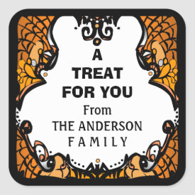 Halloween Orange Black & White Treat for You Square Sticker