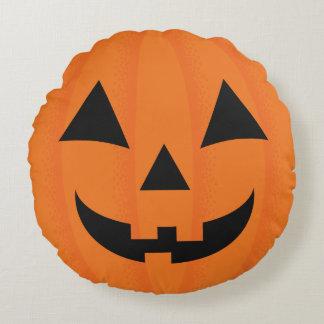 Halloween Orange Carved Happy Pumpkin Face Round Pillow