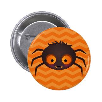 Halloween Orange Chevron Cute Spider Design Button