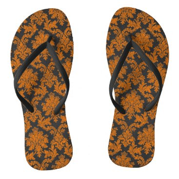 Halloween Themed Halloween Orange Damask Chalkboard Pattern Flip Flops