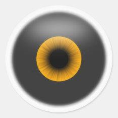 Halloween Orange Eye Eyeball Sticker Tag at Zazzle
