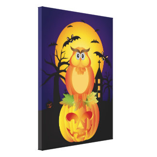 Halloween Orange Fall Color Cartoon Owl Canvas