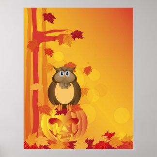 Halloween Orange Fall Color Cartoon Owl Poster