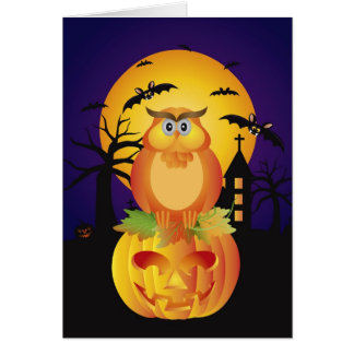 Halloween Orange Fall Color Cute Owl and Bats Card