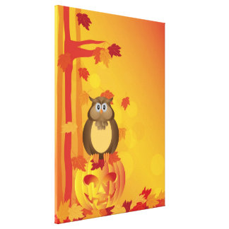 Halloween Orange Fall Color Owl with Leaves Canvas