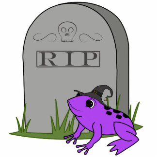 Halloween Orange Frog Witch with RIP Grave Stone Photo Sculpture Magnet