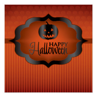 Halloween orange jack o'lantern poster