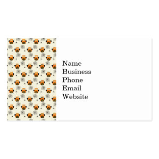 Halloween Orange Owl and Spooky Black Spider Web Business Card Template