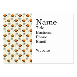 Halloween Orange Owl and Spooky Black Spider Web Business Cards
