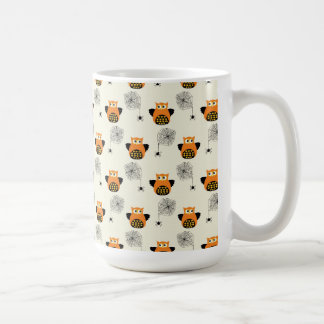 Halloween Orange Owl and Spooky Black Spider Web Coffee Mug