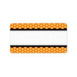 Halloween orange polka dots black scalloped border personalized address labels