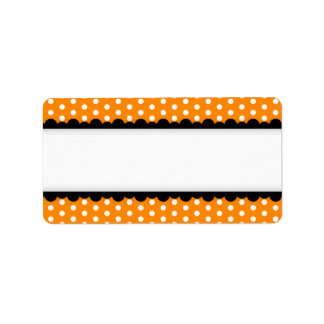 Halloween orange polka dots black scalloped border personalized address labels