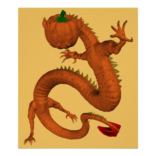 Halloween  Orange Pumpkin Dragon Poster
