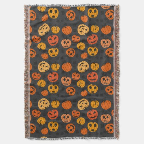 Halloween Orange Pumpkin Pattern Throw Blanket