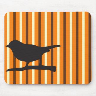 Halloween orange raven bird & branch silhouette mouse pad