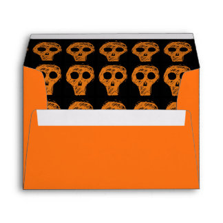 Halloween Orange Skull Envelope