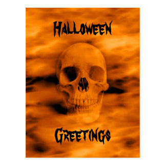Halloween orange skull postcard