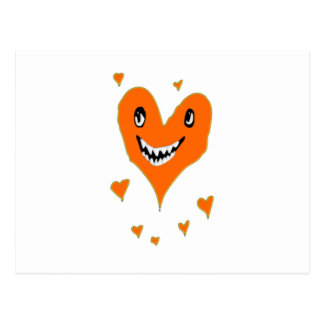 Halloween orange smiling heart postcard