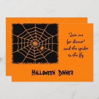 Halloween orange spider dinner party invite