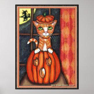 Halloween Orange Tabby Cat Art Poster