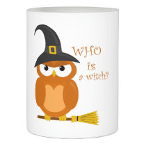 Halloween orange witch owl flameless candle