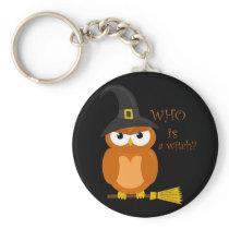 Halloween orange witch owl keychain