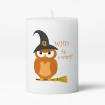 Halloween orange witch owl pillar candle