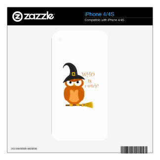 Halloween orange witch owl skin for iPhone 4S