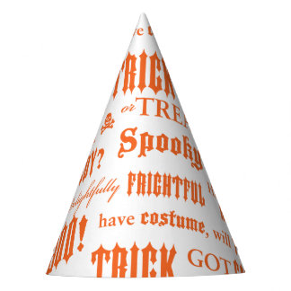 Halloween Orange Words Party Hat