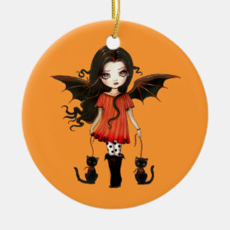 Halloween Ornament Little Vampire with Cats