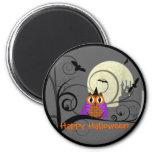 Halloween Owl 2 Inch Round Magnet