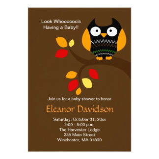 Halloween Owl 5x7 Baby Shower Invitation 2-sided