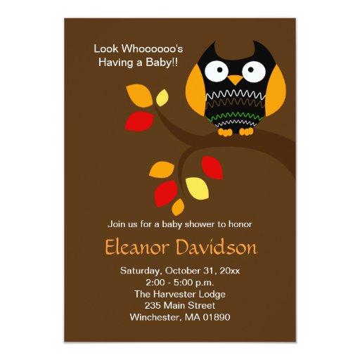 Halloween Owl 5x7 Baby Shower Invitation 2-sided