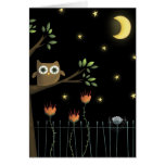 Halloween Owl and Spider at night Card
