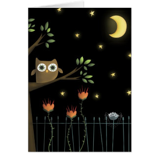Halloween Owl and Spider at night Cards
