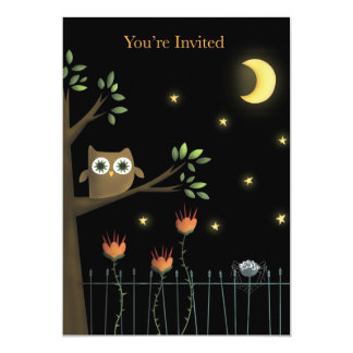 Halloween Owl and Spider at night Party Invitation
