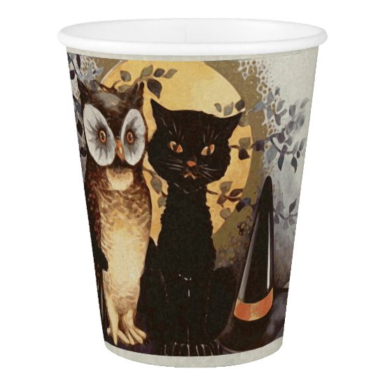 Halloween Owl, Black Cat and Witch's Hat-For Kids Paper Cup