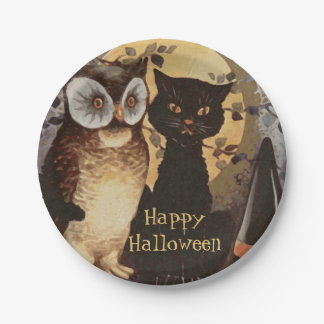 Halloween Owl, Black Cat and Witch's Hat-For Kids Paper Plate