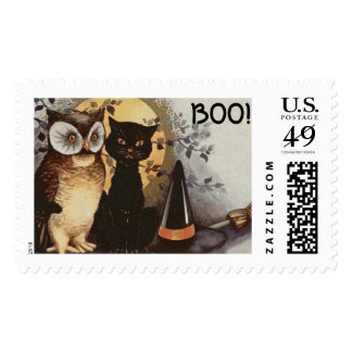 Halloween Owl, Black Cat and Witch's Hat-For Kids Postage