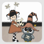 Halloween Owl & Girl with Skulls, Cute! Square Sticker