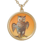 Halloween Owl Gold Plated Necklace