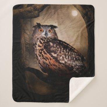 Halloween Owl Medium Sherpa Fleece Blanket