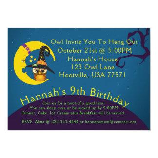 Halloween Owl Moon Slumber Party Invitation