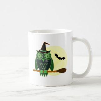 Halloween Owl on a Broom Coffee Mug