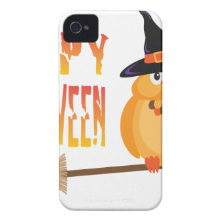 Halloween Owl on Broomstick Illustration iPhone 4 Cover