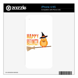 Halloween Owl on Broomstick Illustration iPhone 4S Decals