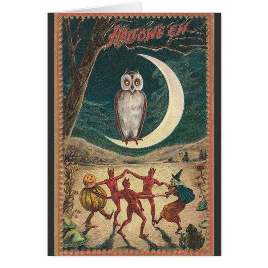 Halloween Owl on the Moon Card