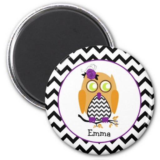 Halloween Owl Personalized Chevron Magnet